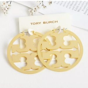Tory Burch Jewelry - Tory Burch Gold Miller Hoop Earrings New with Bag